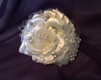 Wrist Corsage, Jewelled Corsage, Ivory or White, Your choice of trim color