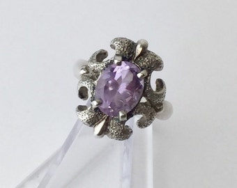 Sterling Silver and Amethyst Ring - Vintage 1980's Kabana - Size 8