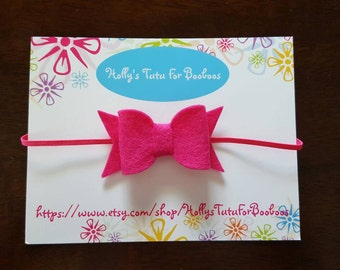 Felt bow on skinny elastic,  perfect for newborn, infant, baby, toddler, child,  birthday, wedding, flower girl, holidays
