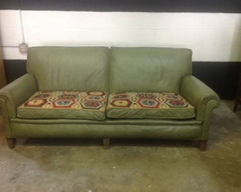 1940's Leather and Textile Sofa