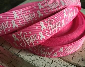 """3 yards 7/8"""" Breast Cancer Awareness Symbol HOPE Grosgrain ribbon Hot Pink"""