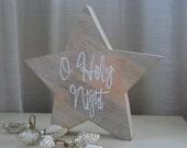 Wooden Star, O Holy Night,  Personalized Wooden Sign, Repurposed Wood, Hand painted