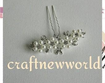 Pearls and crystals flower hair pin, bridal hair pin, wedding hair pin. 1Pc.