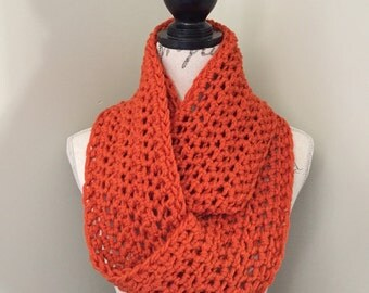 Infinity Scarf, Crochet Infinity Scarves, Crochet Scarf in terracotta orange