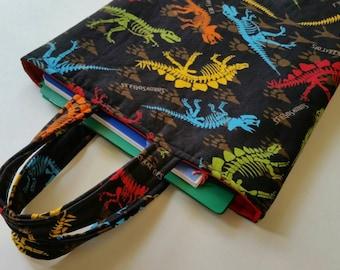 Kids Book Bag, Dinosaur Tote, School Book Bag, Kids Travel Bag, School Storage