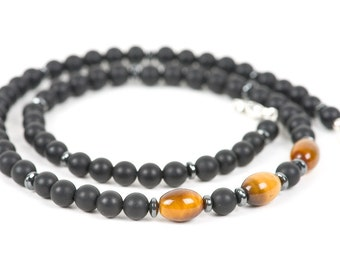 Black Onyx Necklace for Men, Tigers Eye Necklace, Grounding Necklace, Gemstone Bracelet, Handmade Jewelry, Gemstone Jewelry, Father's Day