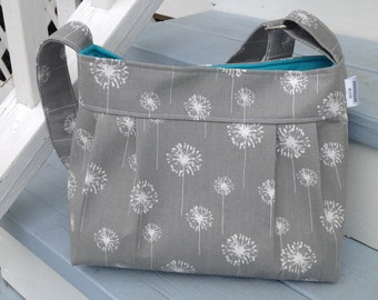 """Sale today!  The """"Lily"""" Grey  dandelion purse with teal, purse, handbag, grey purse, teal purse, pleated purse. dandelion purse"""