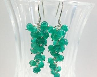 Green Onyx Earrings, Argentium Silver Earrings, May Birthstone Earrings, Green Earrings, Sterling Silver Earrings Hypoallergenic Earrings