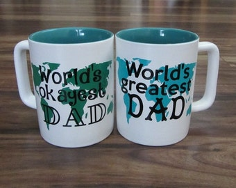 Personalized Coffee Mug,  Birthday Gift, Worlds Greatest Dad, Worlds Okayest Dad, Fathers Day Gift, Gifts for Dad, New Dad