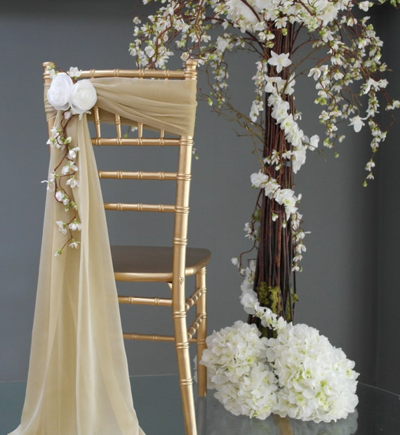 New Wedding Chair Back Sash And White Flower Accent Handmade