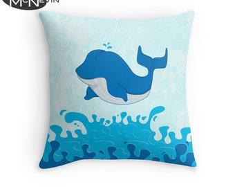 BLUE WHALE Throw Pillow, Home Decor Geek Art