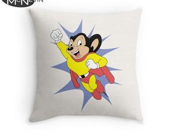 MIGHTY MOUSE Throw Pillow, Home Decor Geek Art