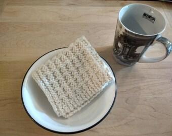Hand Knit Dish Cloth/Wash Cloth - Off White - housewarming gift/ hostess gift/ wedding gift/ bridal shower gift