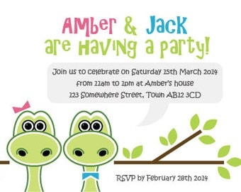 Dinosaurs - Printable Childrens Invites - Personalised