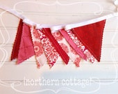 PHOTO PROP GaRLaND // BANNER BuNTiNG, 7+ ft Banner // Bunting Banner // Red and White // Nursery Decor, Kids Room - Ready to Ship!!
