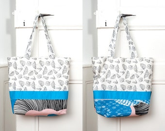 Bag with butterflies, black & white, blue, rose, // with bag inside