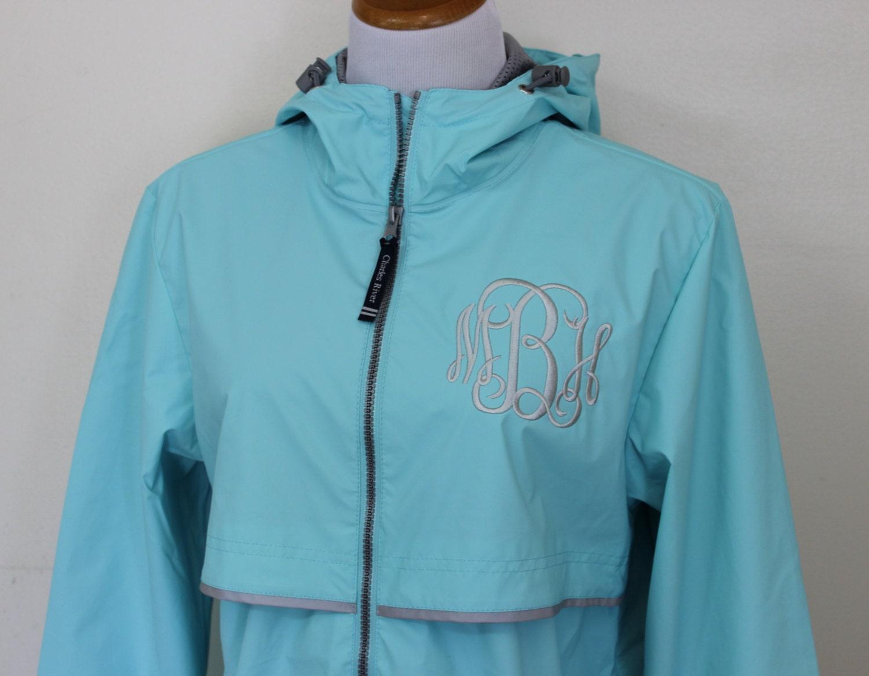 Monogrammed rain jacket charles river coat women s