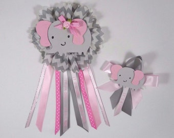 Baby shower corsage, elephant theme,Elephant corsage,  Its a girl corsage 2 pcs ready to use