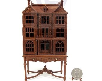 1:144 Scale Doll House On Table / Dollhouse Cabinet [ Finished in walnut]