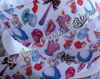3 yards 1 1/2 inch Alice in Wonderland grosgrain ribbon