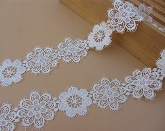 5.5cm White lace trim for DIY sewing,white circle lace trimming,flower hollow up trim