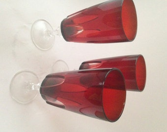 Ruby Red Glasses with Clear Glass Accents