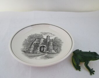 Villeroy and Boch Mettlach Black on White China Castle Coaster German china plate small plate V and B china butter pat tiny plate