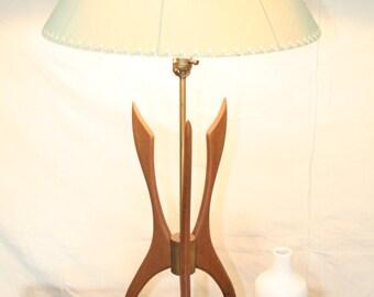 Vintage Lamp: Mid-Century Modern, Wood, Atomic, Sculptural