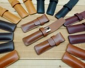 Leather 2 Pen Case, Flap Closure, Holds One Or Two Small Or Large Writing Instruments, Fountain Pen, Pen Sleeve, Leather Pen Case