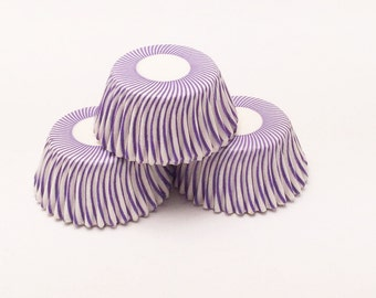 48 Purple and White Pisa Stripe Mini Size Cupcake Liners Baking Cups Greaseproof
