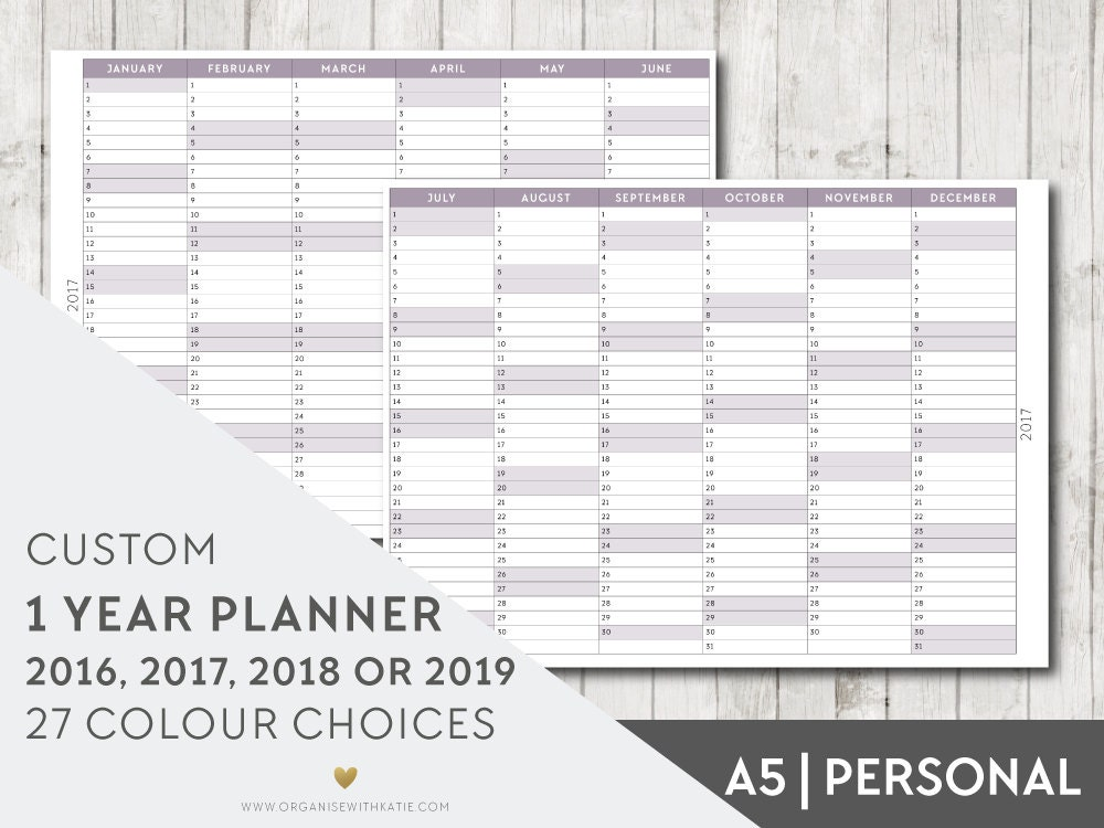 Custom 2016 2017 2018 2019 1 Year Planner A5 Or Personal