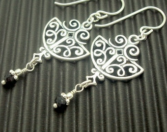 Art Nouveau Style Earrings in Sterling Silver with Black Spinel Gemstone