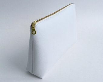 Medium White Faux Leather Makeup Bag, Pencil Case, Zipper Pouch. Vegan Leather, Pleather, Vinyl, Gold Metal Zipper.