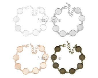 12mm Round Bezel Bracelet Blanks Forms fit 12mm Round Cabochons, Marbles, Resin, Buttons, Etc. eight 12mm round blank bezels  5 PCS M154