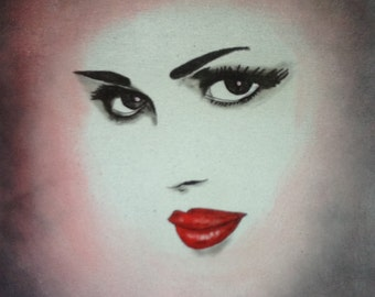 Abstract Black and White Woman with Red Lips