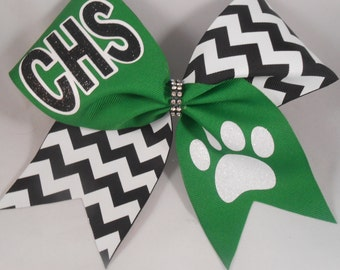Cheer Bow Custom YOUR School and MASCOT Team Bows by BlingItOnCheerBowz Kelly green Emerald Black White Chevron