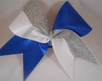 Cheer Bow Royal Blue Mystique / Silver Glitter / White Mystique  by BlingItOnCheerBowz