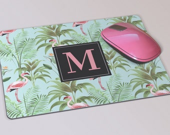 Fabric Mousepad, Mousemat, 5mm Black Rubber Base, 19 x 23 cm - Tropical Flamingo & Palm leaves Monogrammed Mousepad Mousemat