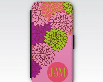 Wallet Case for iPhone 8 Plus, iPhone 8, iPhone 7 Plus, iPhone 7, iPhone 6, iPhone 6s, iPhone 5s - Pink Dahlia Floral Pattern Monogram Case