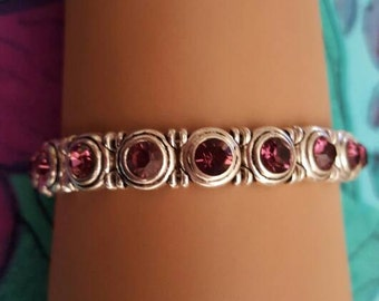 Genuine Swarovski Purple Crystal Bracelet w/ Sterling Silver Toggle Clasp