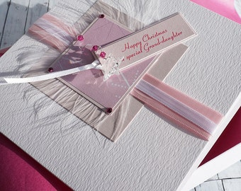 Luxury Boxed Christmas Card personalised for Mum, Sister, Gran, Daughter, Niece, Friend etc- 'Pink Crystals'