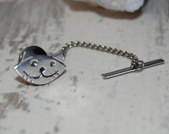 Tie Tack Chain Vintage Sterling Silver Smiling Happy Kitty Cat