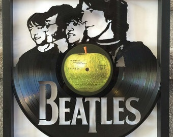 "The Beatles ""White Album"" cut framed vinyl LP record art collectible gift"