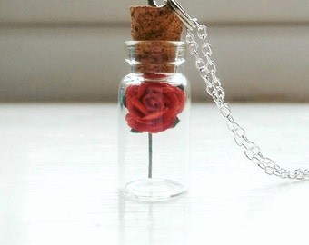 Beauty And the Beast Enchanted Rose Bottle Necklace Disney Belle inspired Tale as Old as Time