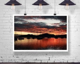 Photograph - Sail Boats under a Port Denarau Fiji Ocean Sunrise Fine Art Photography Print Wall Art Home Decor