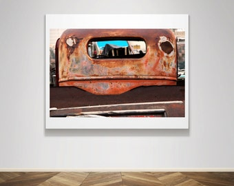 Photograph - Truck Rusted Vintage Flatbed Ford Junk Yard  Industrial  Fine Art Photography Print Wall Art Home Decor