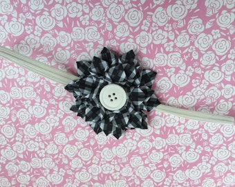 Handmade Checkered Black and White Dahlia flower headband