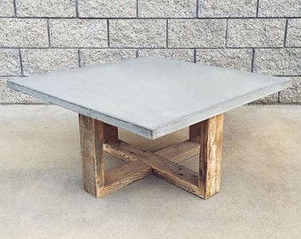 Rustic Modern Reclaimed Wood And Cement Coffee Table