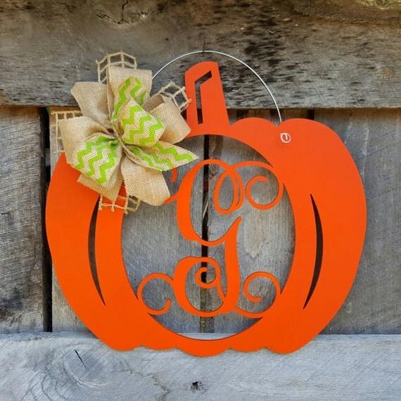 Pumpkin Door Hanger - Initial Wreath - Personalized Fall Wreath - Wall Hanging - Door Decor - Personalized Pumpkin Wreath