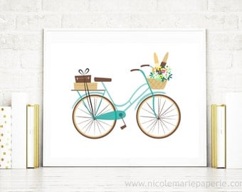 Bicycle Print, Retro Bicycle Print, Blue Bicycle Art, Bicycle Wall Art, Bike Art, Gift For New Home, Gift For Friend, 8x10, 11x14